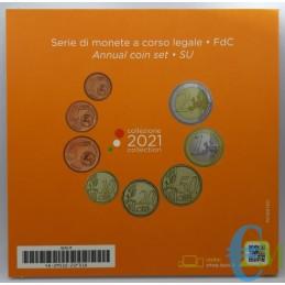 Italia 2021 - Divisionale euro ufficiale 8 valori 2€ - 1€ - 50c. - 20c. - 10c. - 5c. - 2c.- 1c.