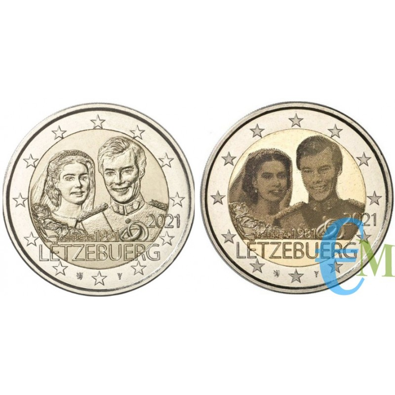 Lotto 2 euro 40º matrimonio del Granduca Enrico le due versione