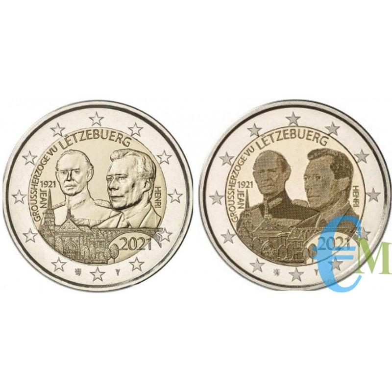 Lotto 2 euro 100º nascita del Granduca Giovanni le due versione