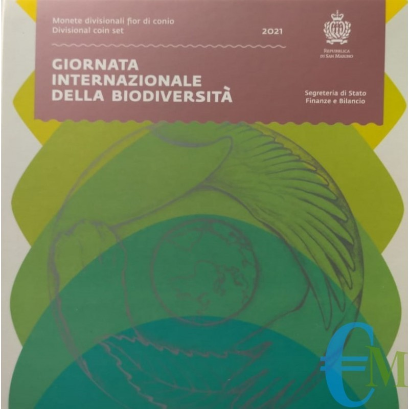 Divisionale 2021 euro ufficiale FDC 9 valori con 5€ Argento giornata internazionale della biodiversità