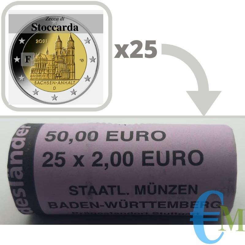 Rotolino ufficiale da 25 x 2 euro commemorativi Cattedrale di Magdeburgo, 15° moneta della serie dedicata ai Lander tedeschi