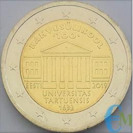 Estonia 2019 - 2 euros conmemorativos del centenario de la fundación de la Universidad de Tartu.