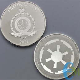 """Moneda 2 dólar de plata neozelandés - año Niue 2021, """"Star Wars - Imperio Galáctico""""."""
