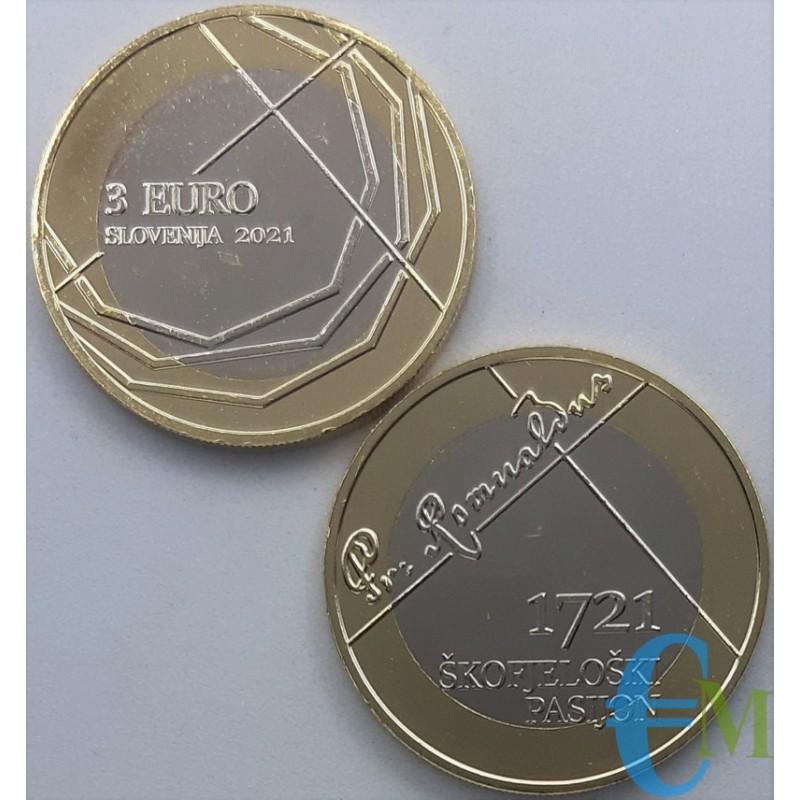 3 euro Bimetallica 300° anniversario della Passione Škofja Loka