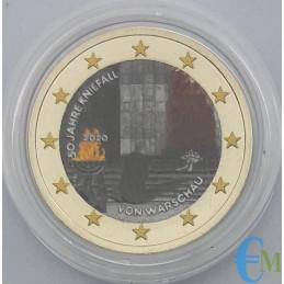 Allemagne 2020 - Pièce commémorative colorée de 2 euros 50e anniversaire de l'agenouillement de Varsovie - menthe aléatoire