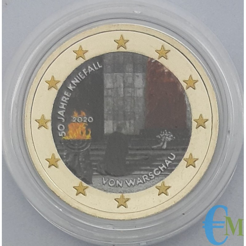 Germany 2020 - 2 euro colored commemorative coin 50th anniversary of the Warsaw Kneel - random mint