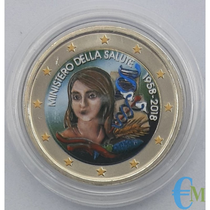 Italy 2018 - 2 euro colored commemorative coin 60th anniversary of the establishment of the Ministry of Health.