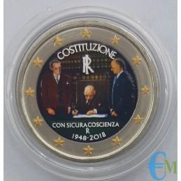 Italia 2018 - Moneda conmemorativa de 2 euros de color del 70 aniversario de la Constitución italiana.