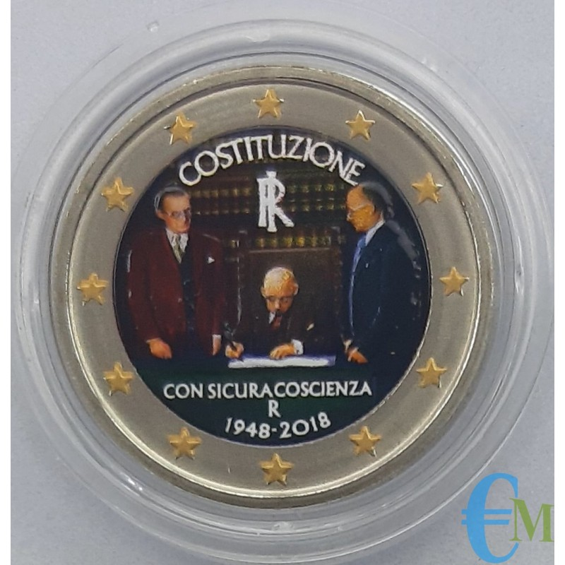 Italie 2018 - Pièce commémorative colorée de 2 euros 70e anniversaire de la Constitution italienne.