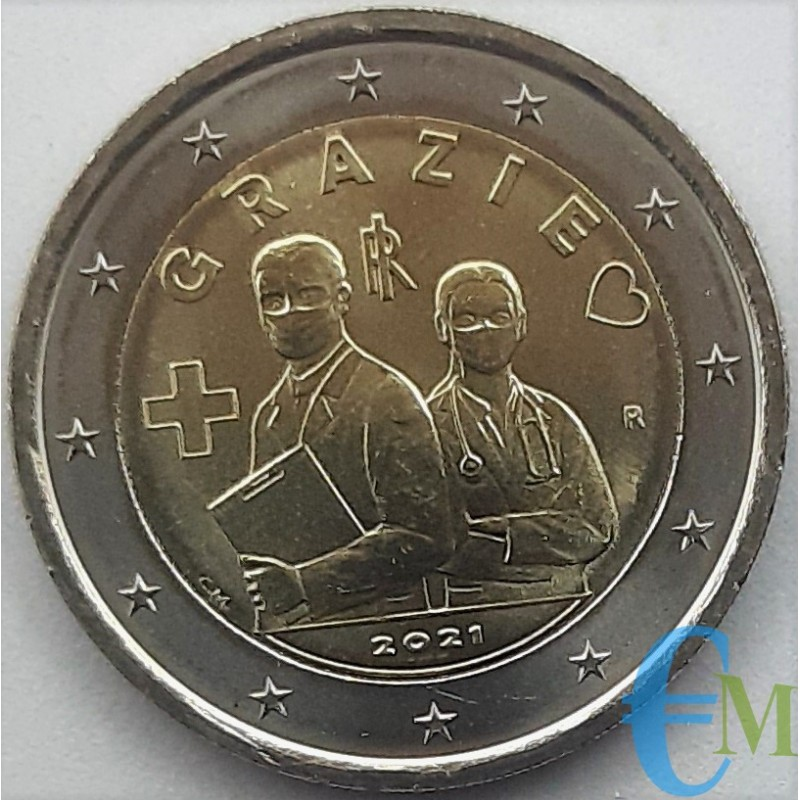 Italie 2021 - 2 euros commémorative Professions de la Santé MERCI