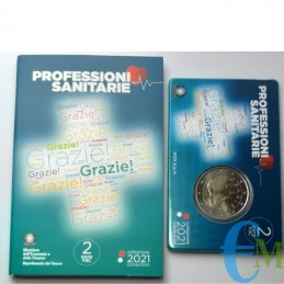 Italie 2021 - 2 euros Professions de santé MERCI en coincard