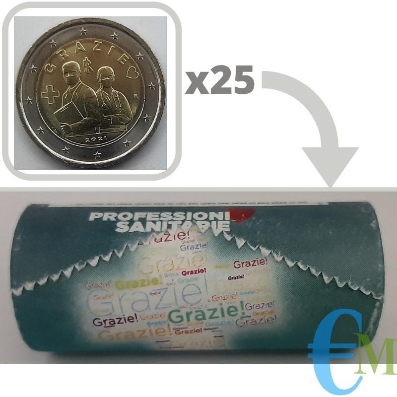 Rotolino ufficiale da 25 x 2 euro commemorativi Professioni Sanitarie GRAZIE - Serie Speciale