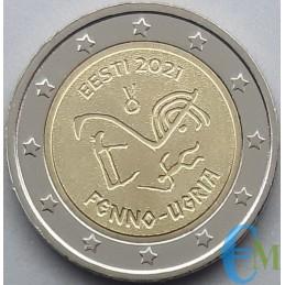 Estonia 2021 - 2 euro commemorative ancient uralic linguistic symbols.