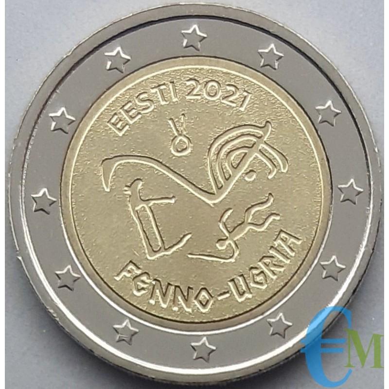 Estonia 2021 - 2 euro commemorativo antichi simboli linguistici uralici.