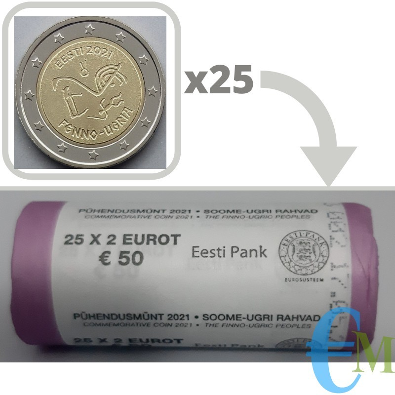 Rotolino ufficiale 25 x 2 euro commemorativo antichi simboli linguistici uralici.