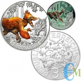 Austria 2021 - 3 euro Deinonychus antirrhopus - 7° moneta Supersaurs