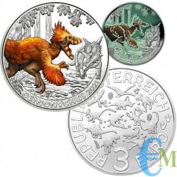 Autriche 2021 - 3 euros Deinonychus antirrhopus - 7ème pièce de Supersaures