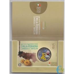 Italia 2021 - 5 euros Cultura gastronómica y enológica - Lambrusco y Tortellini