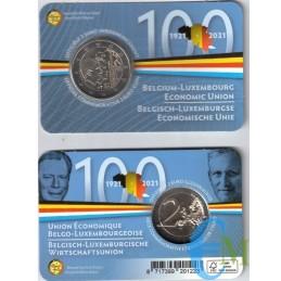 Belgique 2021 - 2 euros 100ème Union Economique BLEU BU en coincard NL