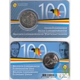 Bélgica 2021 - 2 euros 100a Unión Económica BLEU BU en coincard FR