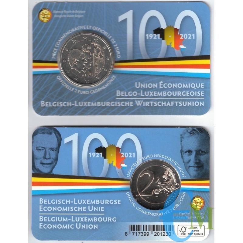 Belgique 2021 - 2 euros 100ème Union Economique BLEU BU en coincard FR