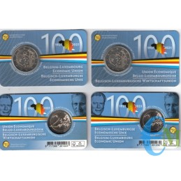 Belgium 2021 - Lot 2 euro 100º Economic Union BLEU BU in coincard FR and NL