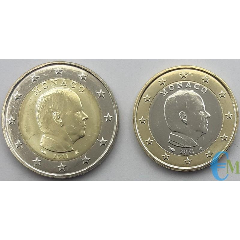 Monaco 2021 - Lotto 2 e 1 euro x circolazione