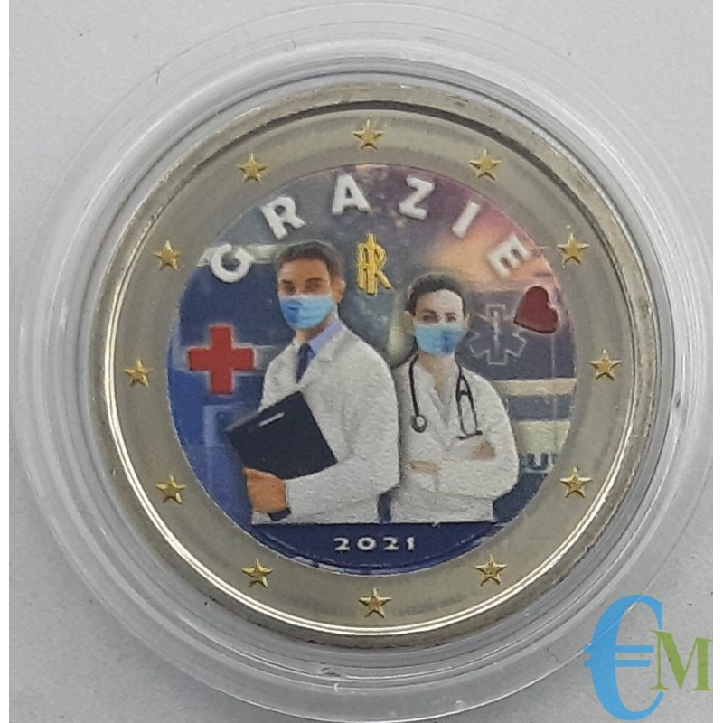 Italy 2021 - 2 euro colored Health Professions THANK YOU