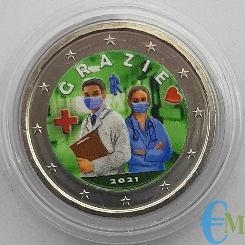 Italy 2021 - 2 euro colored Healthcare Professions THANK YOU - 2nd version