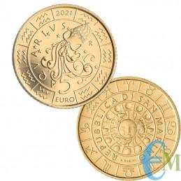San Marino 2021 - 5 Euro Zodiac Aquarius
