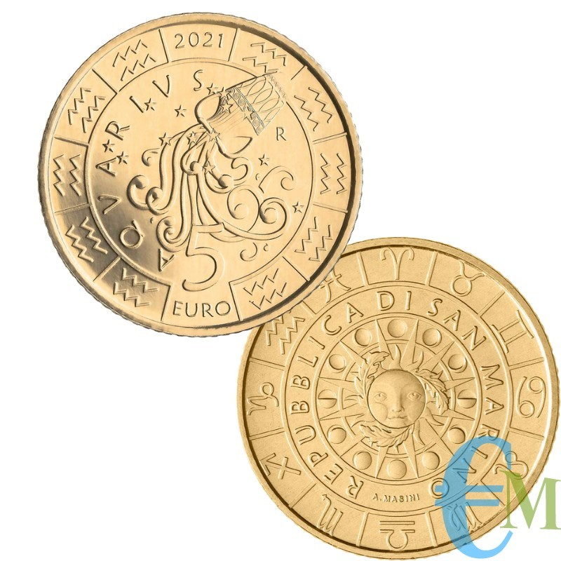 San Marino 2021 - 5 Euro Zodiaco Acquario