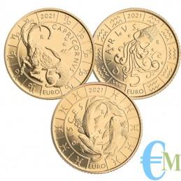 San Marino 2021 - Lot 5 Euro Zodiac Capricorn Aquarius and Pisces