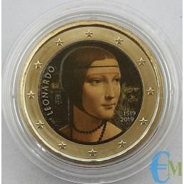 Italie 2019 - 2 euros Léonard de Vinci coloré - 2ème version