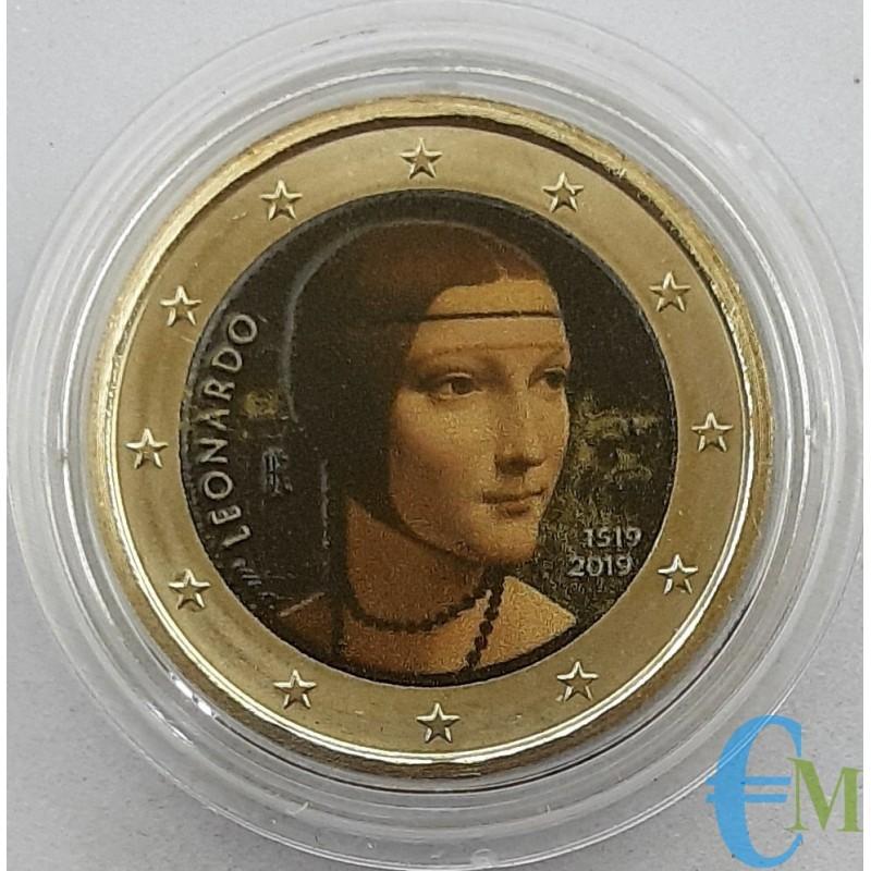 Italia 2019 - 2 euro colorato Leonardo da Vinci - 2° versione