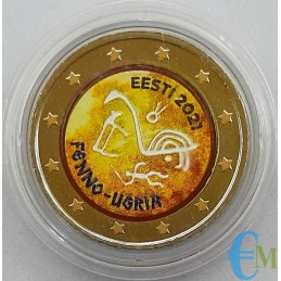 Estonia 2021 - 2 euro colorato Popoli ugro finnici