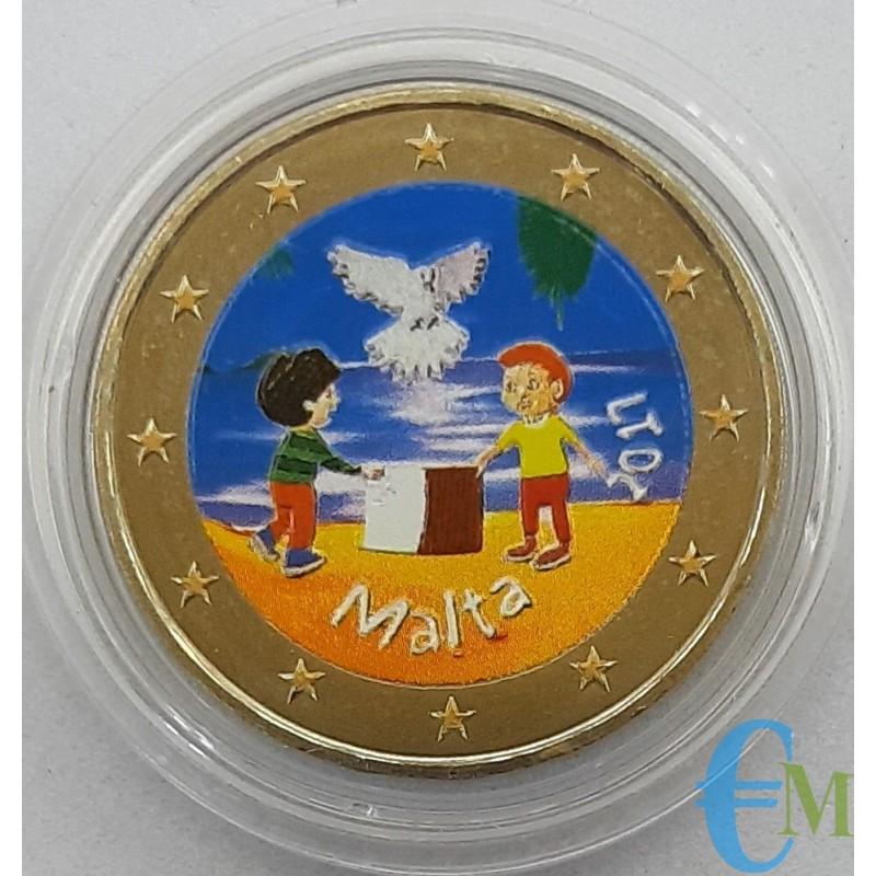 Malta 2017 - 2 euro colorato bambini pace