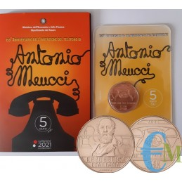 Italy 2021 - 5 euro 150th invention of the telephone by Antonio Meucci