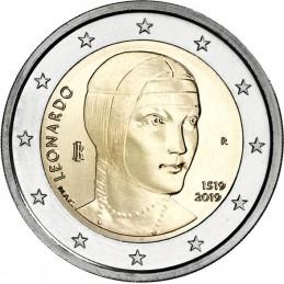 Italia 2019 - 2 euro commemorativo 500° anniversario della morte di Leonardo da Vinci.
