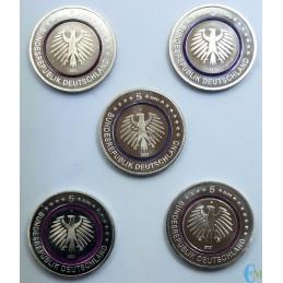 Germania 2021 - Set 5 euro Zona Polare con anello Polimero viola