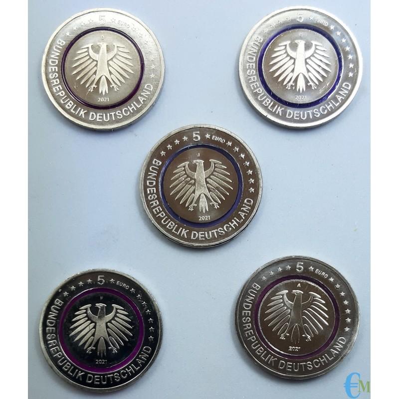 Germany 2021 - Set 5 euro Polar Zone with purple polymer ring