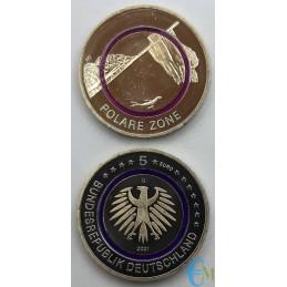 Germania 2021 - 5 euro Zona Polare con anello Polimero viola