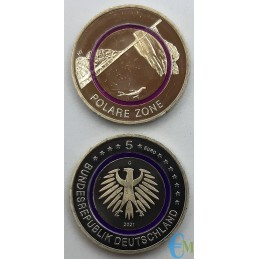 Germany 2021 - 5 euro Polar zone with purple polymer ring