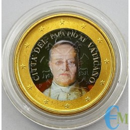 Vatican 50 cents colored by Pope Pius XI