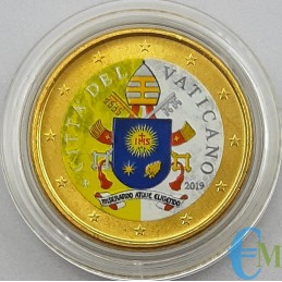 Vaticano 50 centesimi colorato Stemma Vaticano 2019