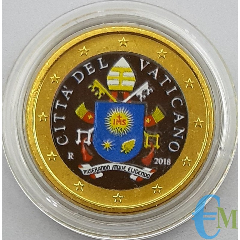 Vatican 50 cents colored Vatican Coat of Arms 2018