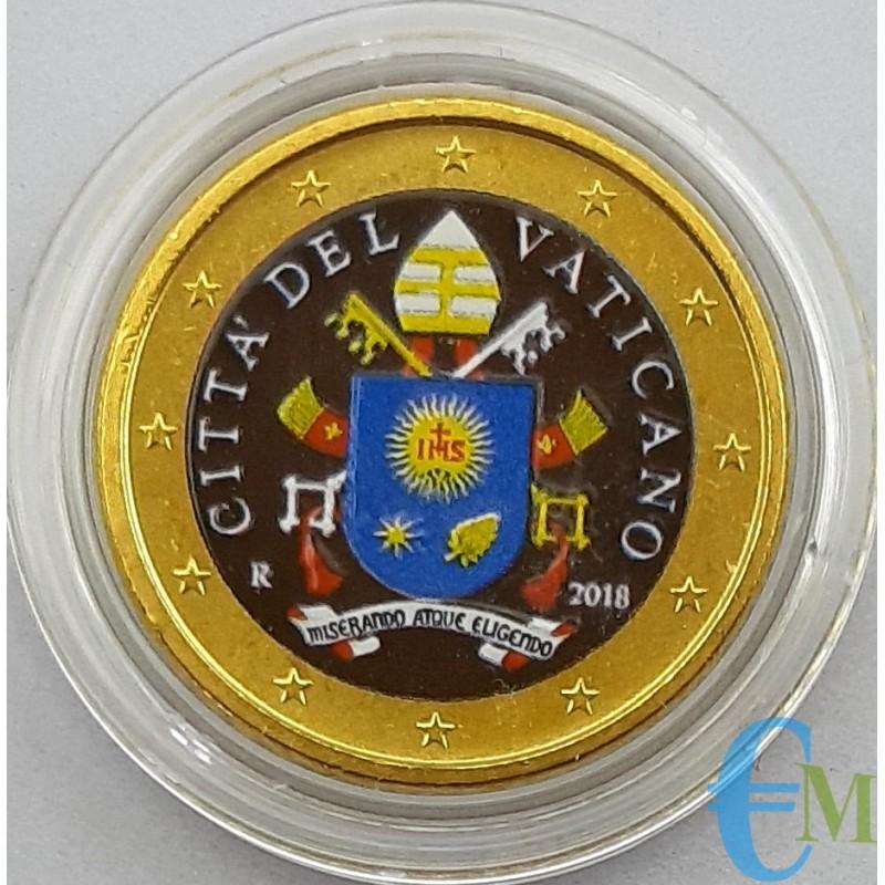 Vaticano 50 centesimi colorato Stemma Vaticano 2018