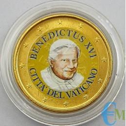 Vaticano 50 centesimi colorato di Papa Benedetto XVI