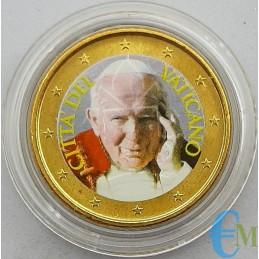 50 centavos del Vaticano coloreados por el Papa Juan Pablo II