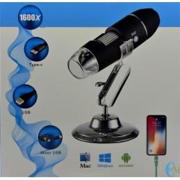 Microscopio Digitale con ingrandimento 1600x 8 LED per Android, Windows e Mac