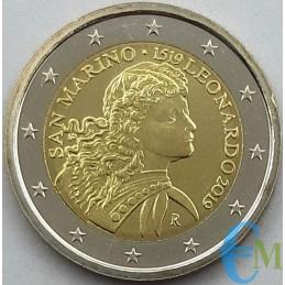 San Marino 2019 - 2 euro 500° morte Leonardo da Vinci Senza Folder